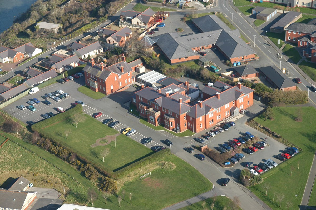 Aerial photograph of the Pembrokeshire Coast National Park Authority's headquarters in Pembroke Dock.
