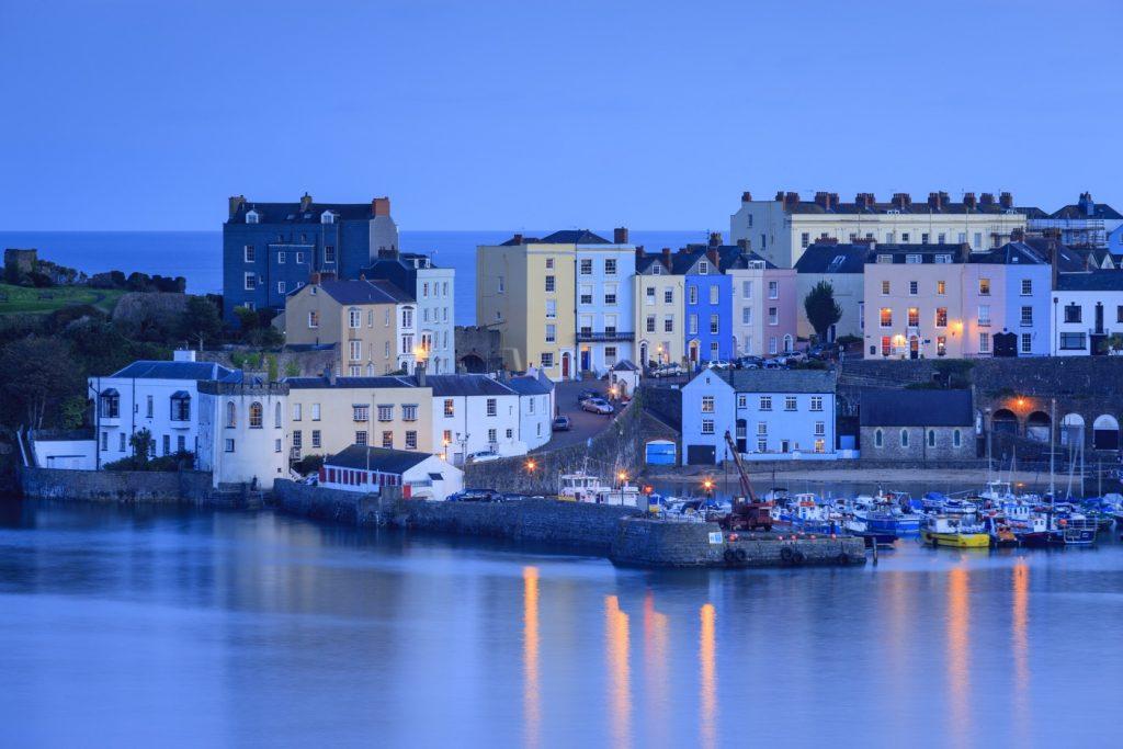 Tenby, Pembrokeshire in twilight