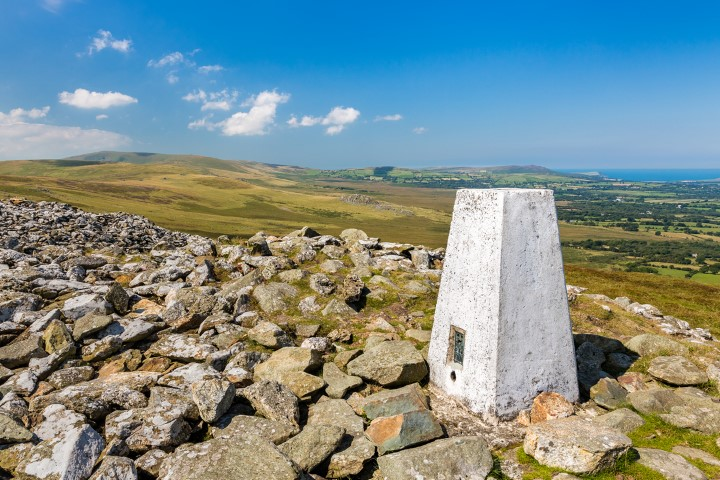 Triangulation (trig) point named Foel Drygarn in the Preseli Hills, Pembrokeshire Coast National Park