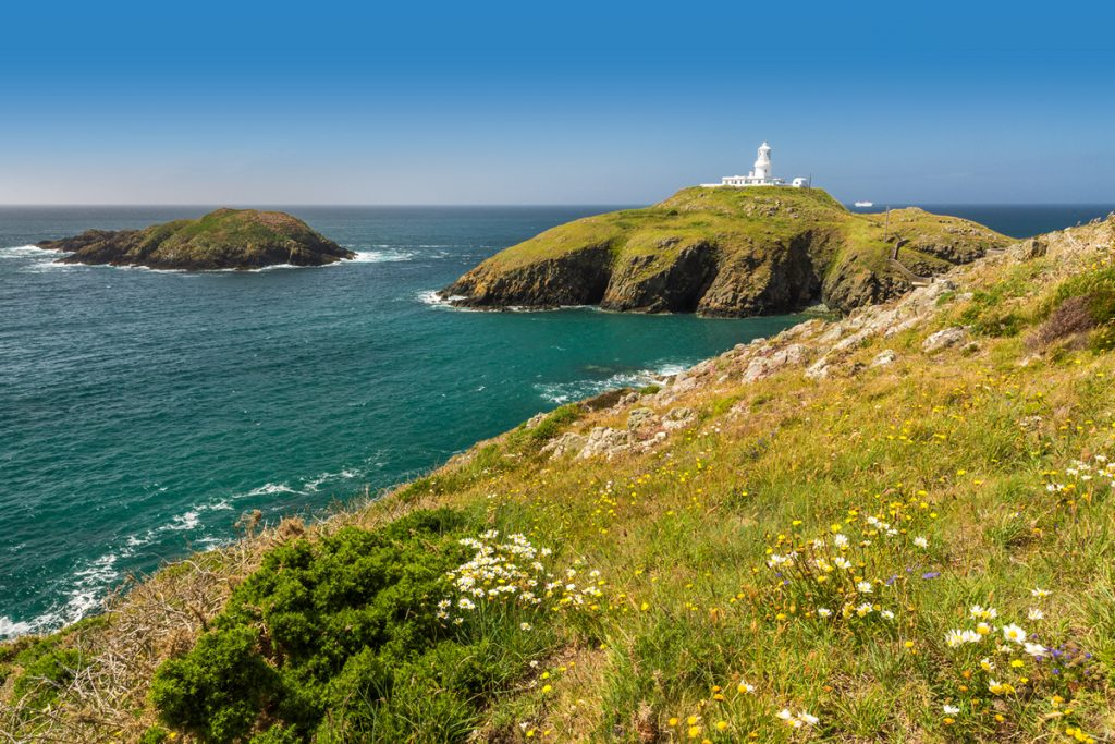 Strumble Head lighthouse, Pembrokeshire, Wales, Uk