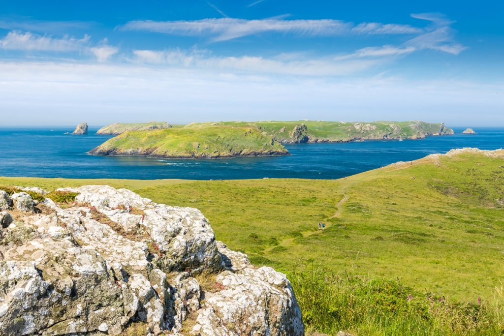 Skomer Island from the mainland, Pembrokeshire, Wales, UK