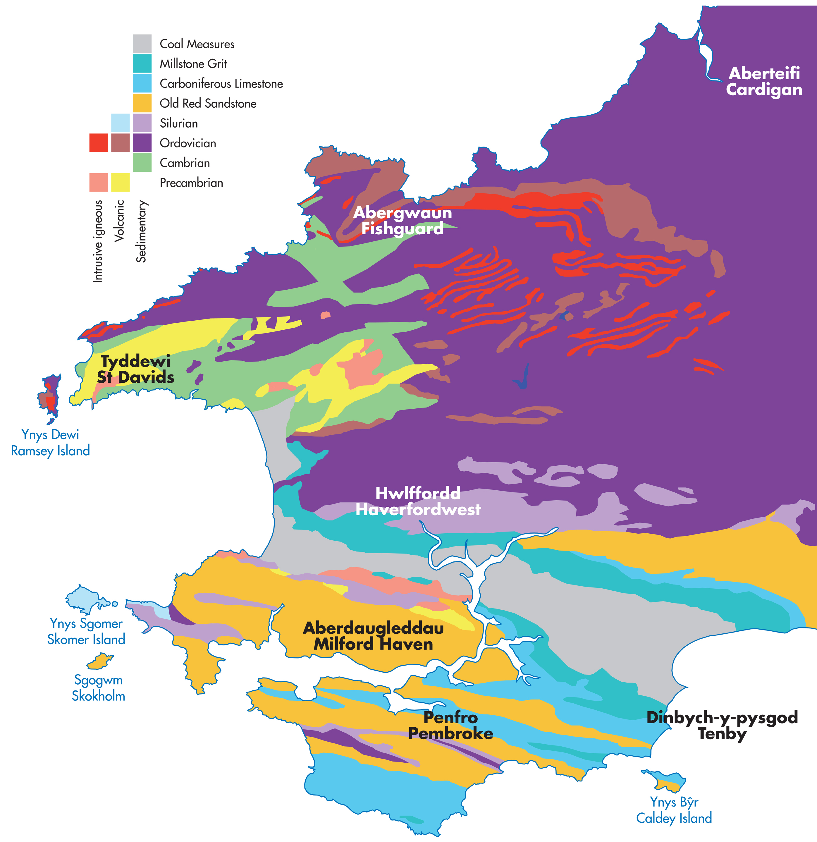 Map showing the Pembrokeshire's diverse geology