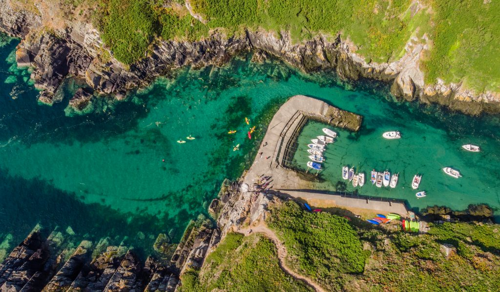 Kayakers at Porth Clais harbour
