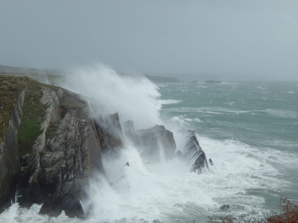 Entrance to Porth Clais Harbour near St Davids during Storm Ophelia in 2018