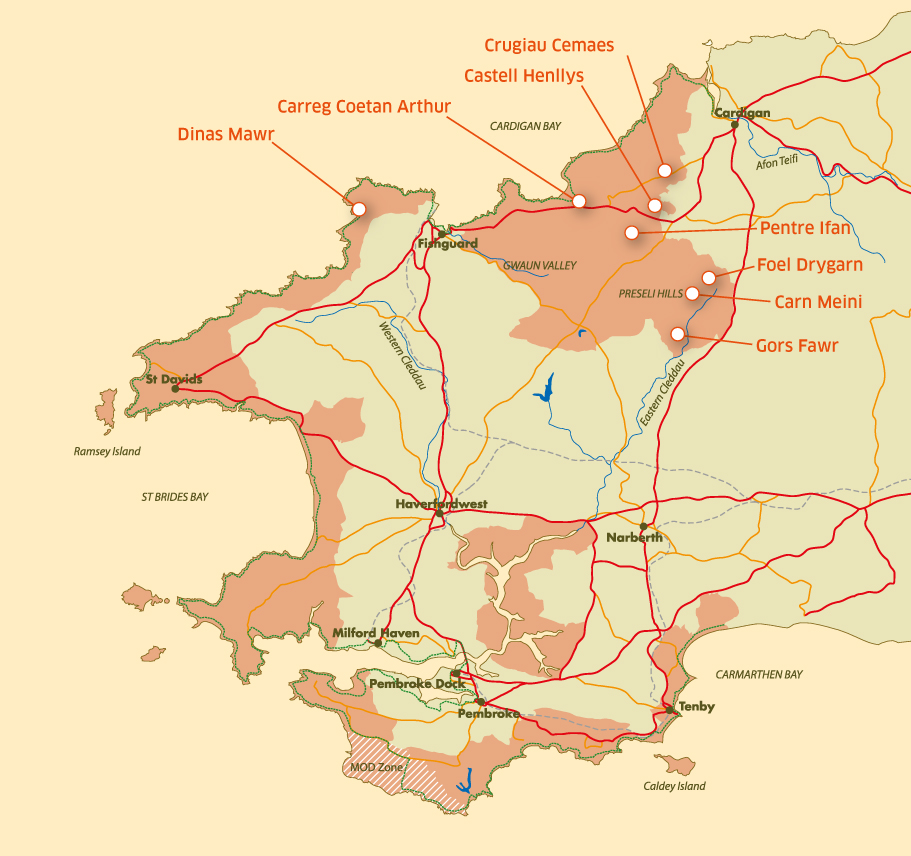 A map of seven prehistori sites in the Castell Henllys area