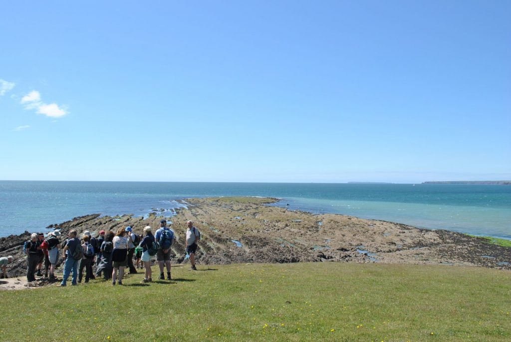 Walkers on the Castlemartin Range in the Pembrokeshire Coast National Park, Wales, Uk