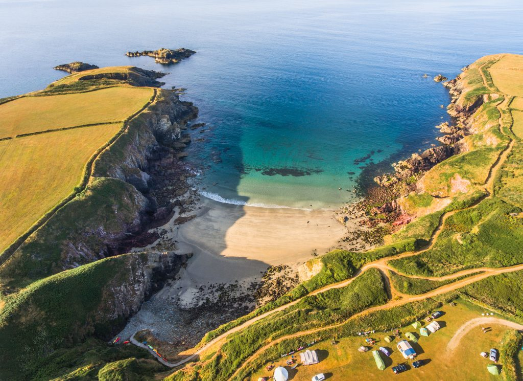 Aerial photo of Caerfai Bay near St Davids, Pembrokeshire, Wales, UK