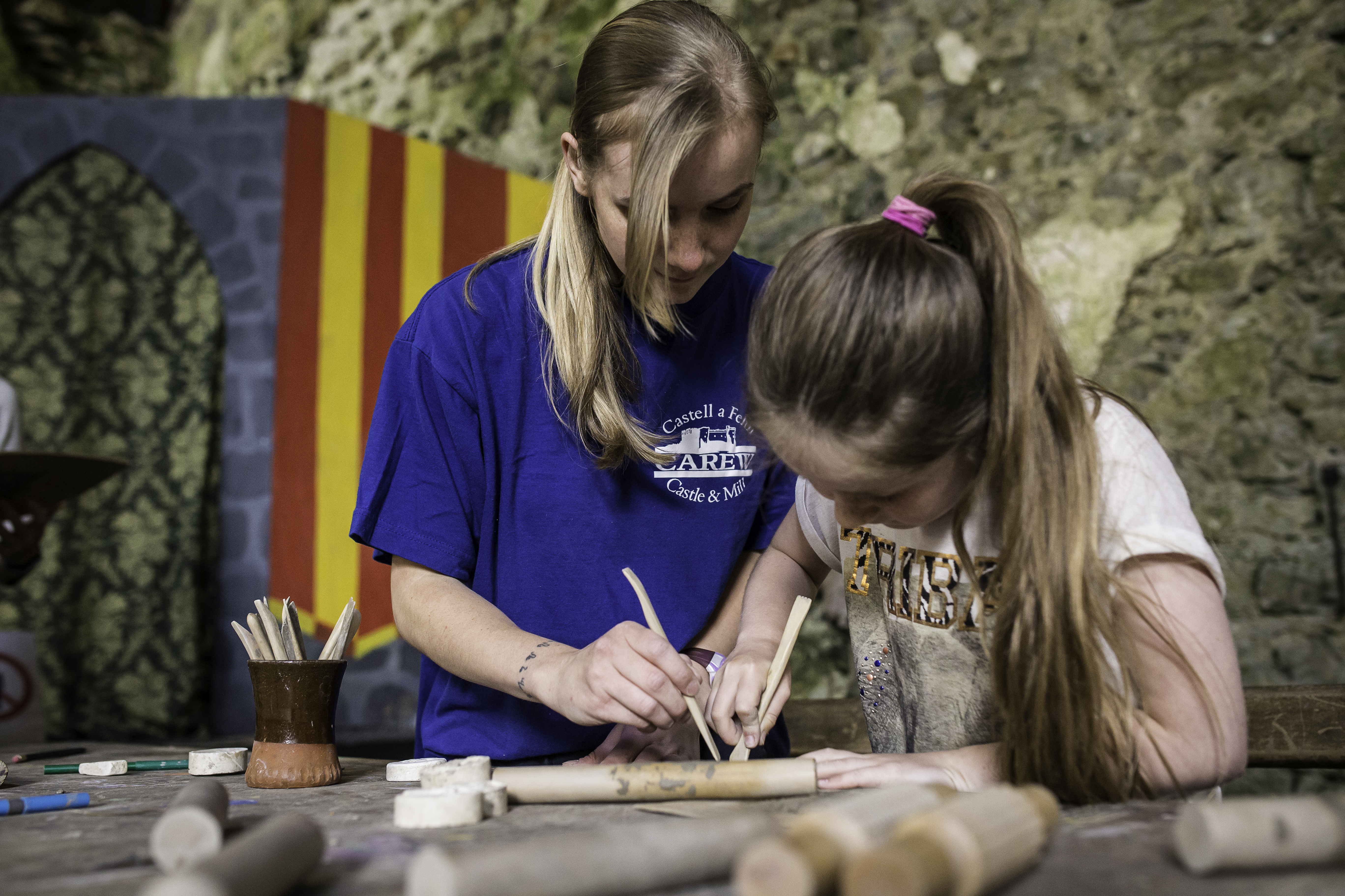 Art activity at Carew Castle and Tidal Mill, Pembrokeshire Coast National Park, Wales, UK