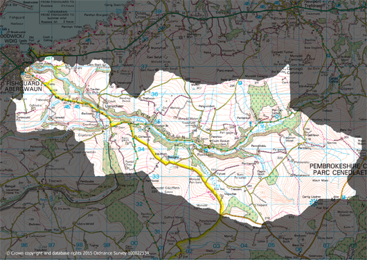 Map of the Gwaun Valley catchment (C) Crown Copyright