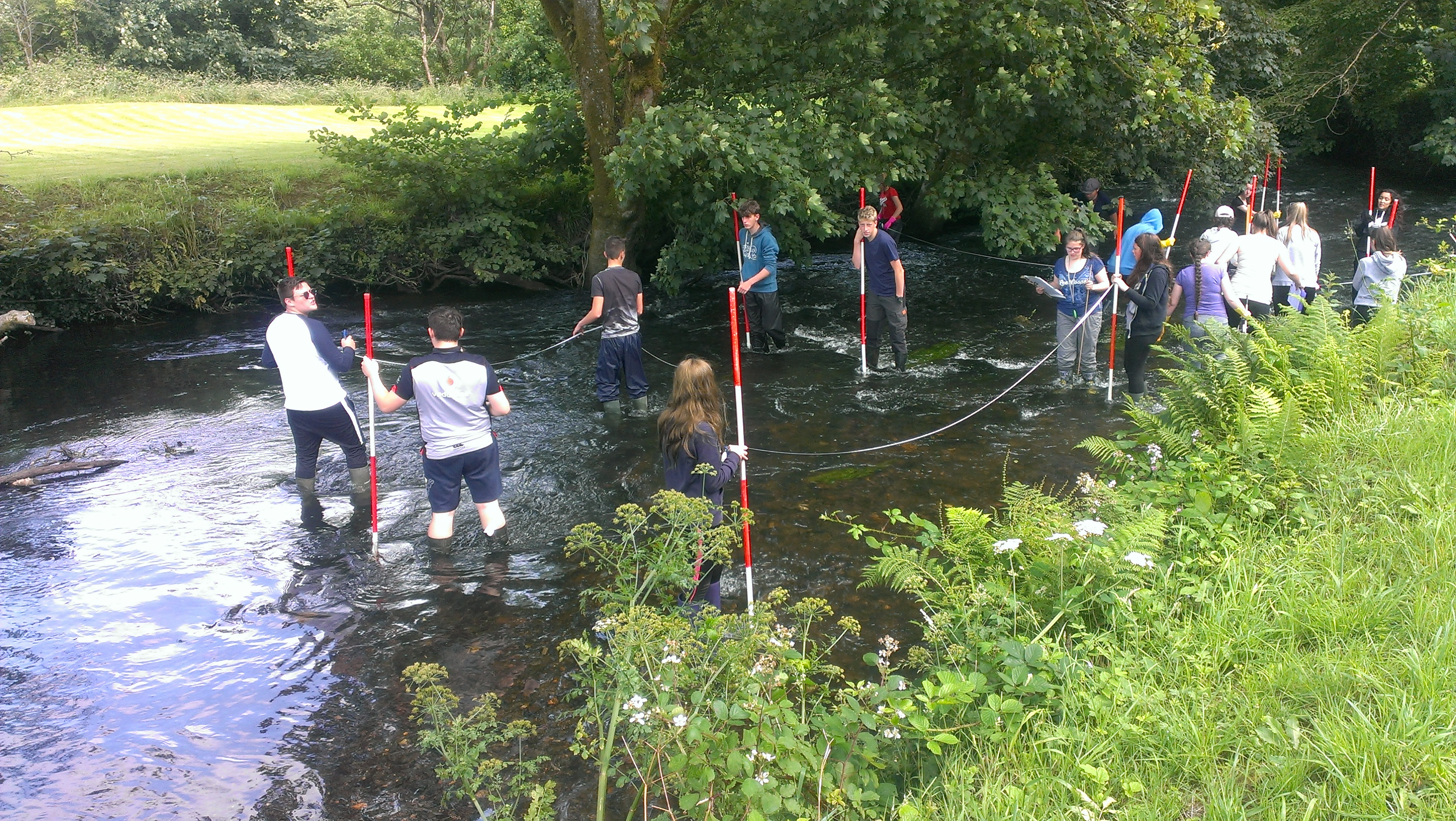 GCSE pupils measuring river channel and water flow in the Syfynwy River, Pembrokeshire Coast National Park, Wales, UK
