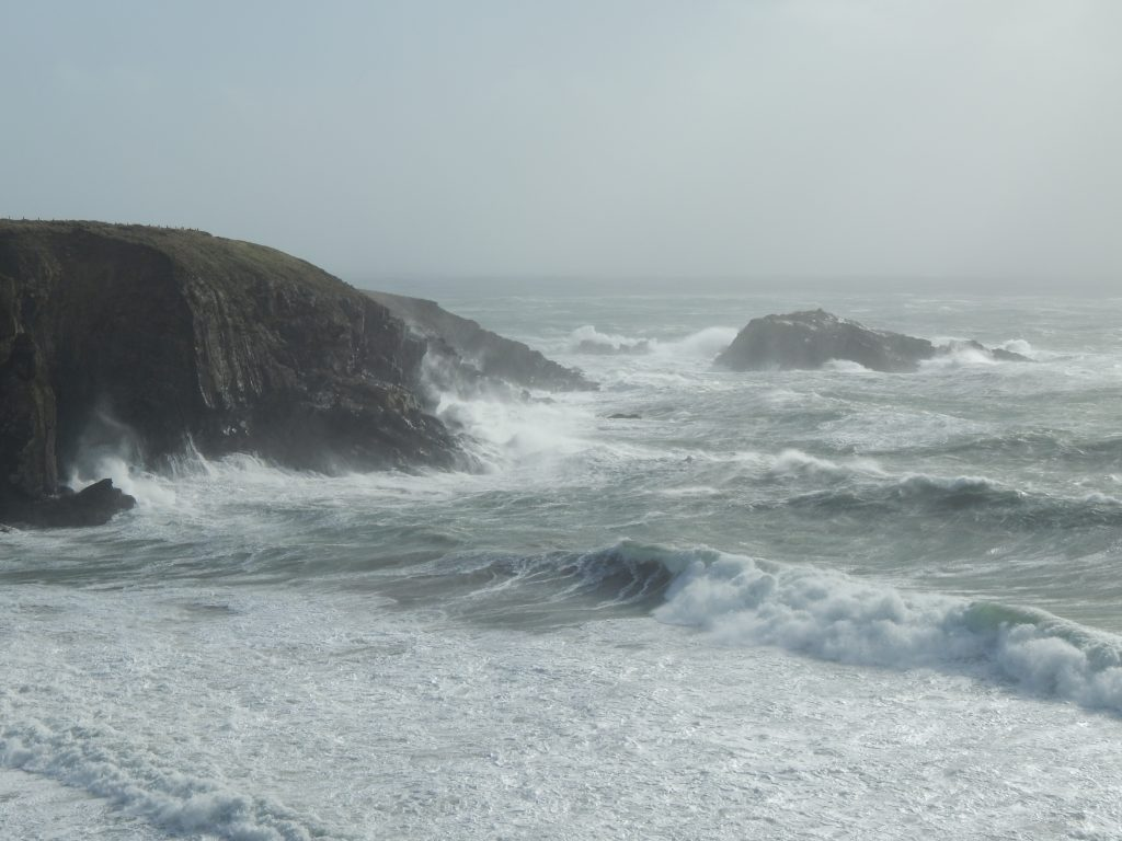 Caerfai Bay during Storm Ophelia in 2017.