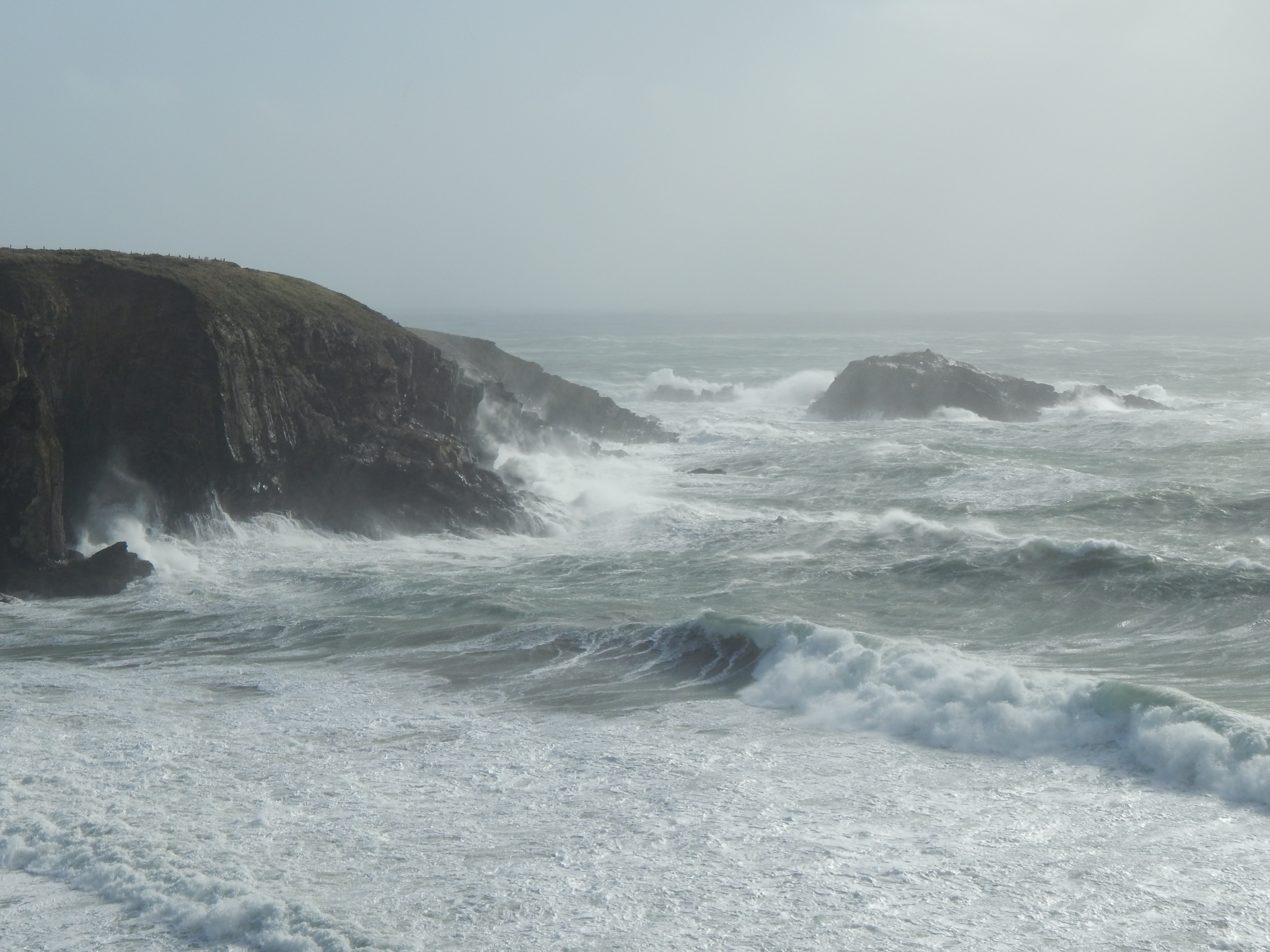 Caerfai Bay during Storm Ophelia in 2017.​