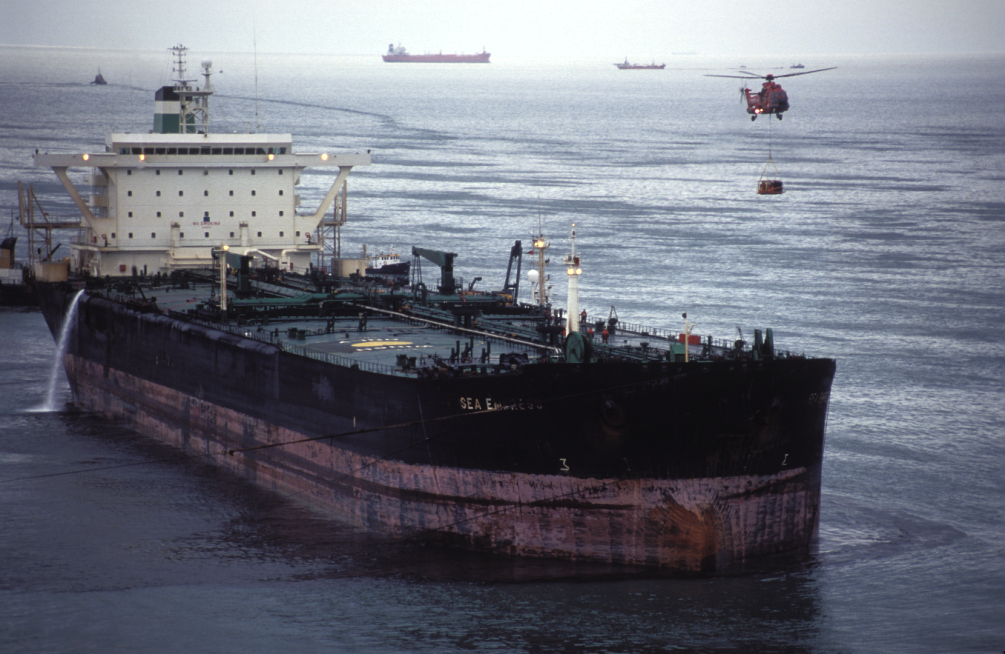 Sea Empress, which became grounded on mid-channel rocks at St. Ann's Head off the Pembrokeshire Coast on 15 February 1996