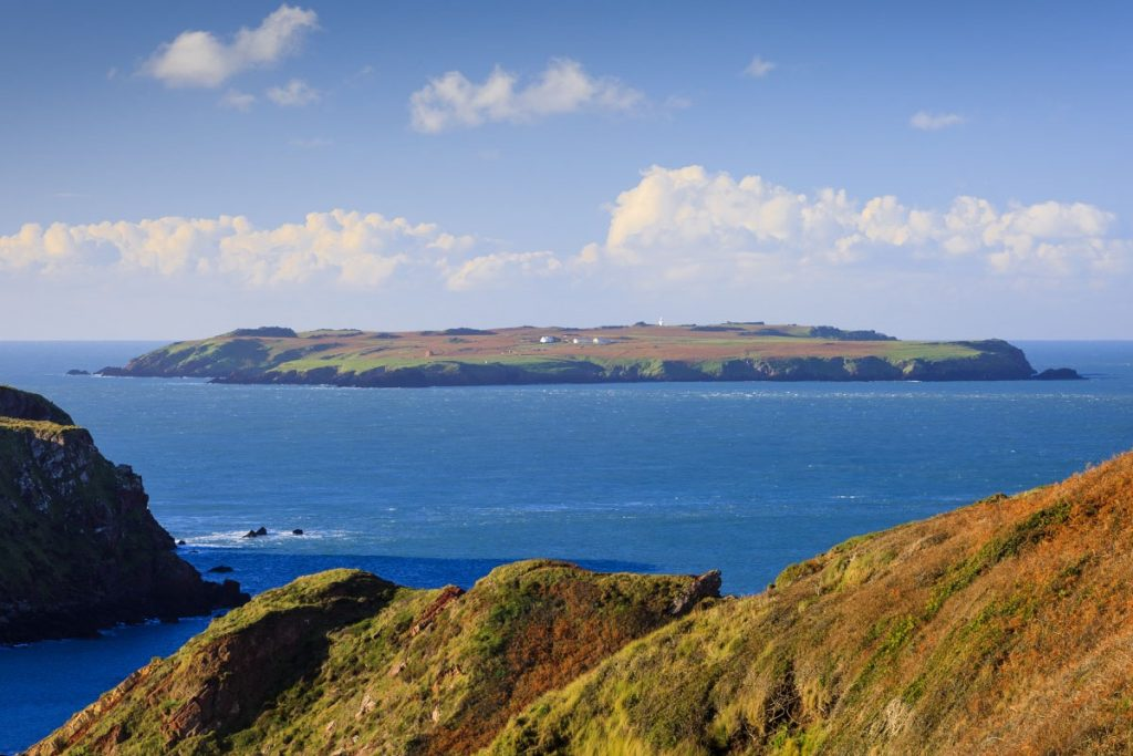 Skokholm Island taken from the mainland, Pembrokeshire Coast National Park, Wales, UK