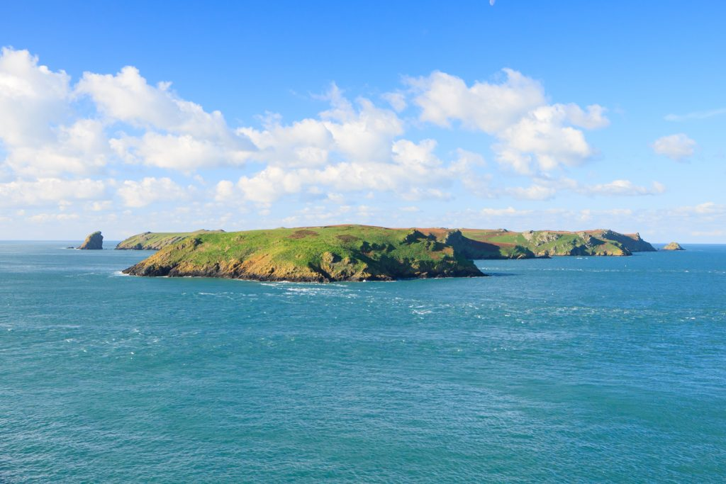 Skomer Island viewed from the mainland, Pembrokeshire Coast National Park, Wales, UK