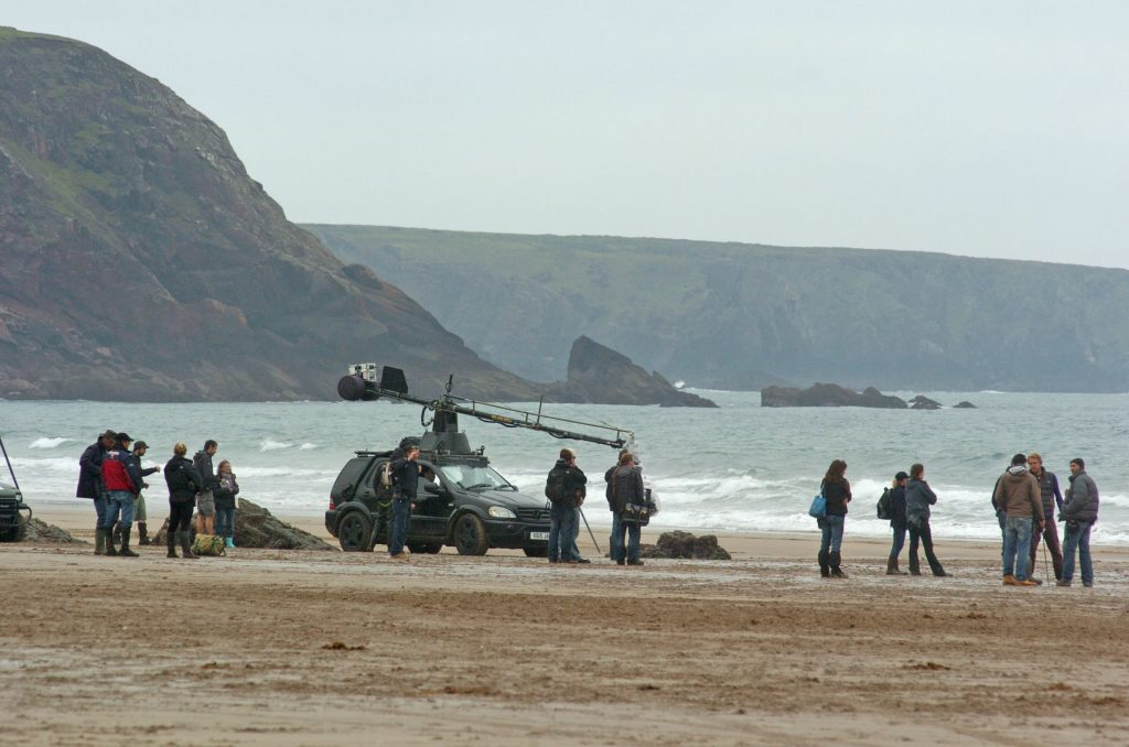 Snow White and the Huntsman filming at Marloes Sands, Pembrokeshire Coast National Park, Wales, UK