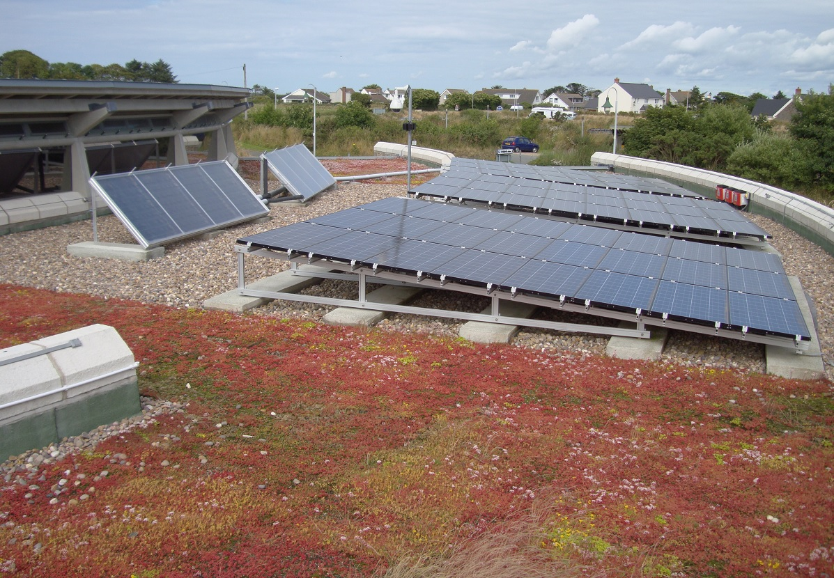 Solar panels on the Oriel y Parc Gallery and Visitor Centre roof
