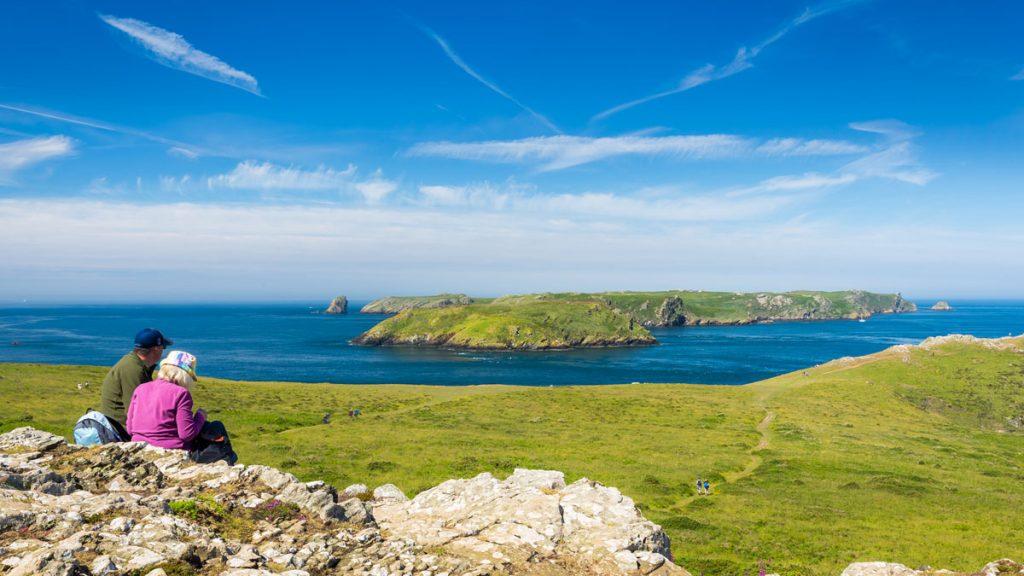 Skomer Island viewed from the Deer Park on the mainland. Skomer Island, Pembrokeshire, Wales, UK