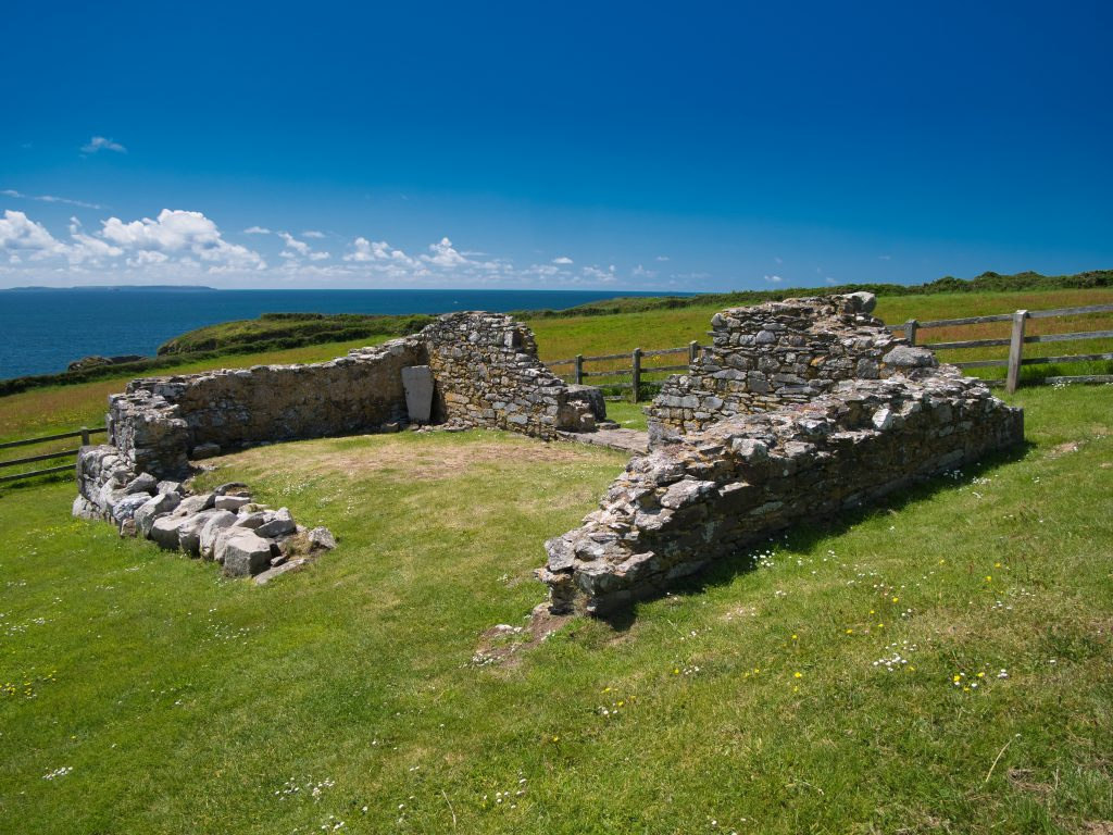 The ruin of the Chapel of Saint Non, St Davids