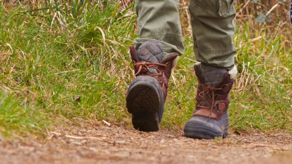 Close up of hiking boots on a footpath