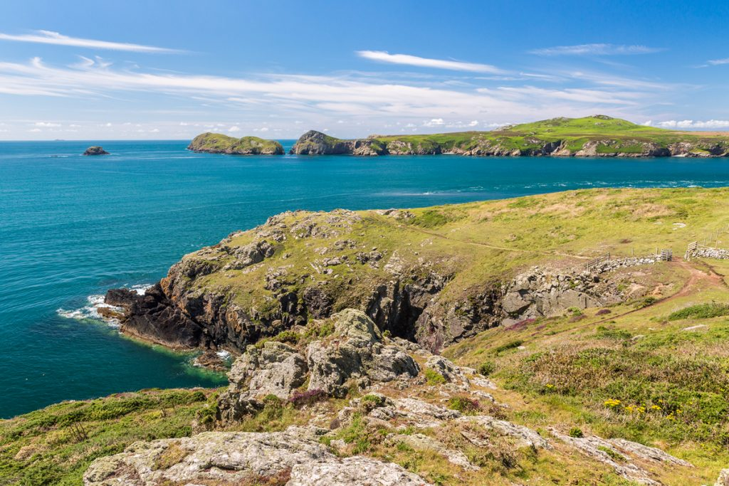 View across to Ramsey Island from the Pembrokeshire Coast Path National Trail at Treginnis