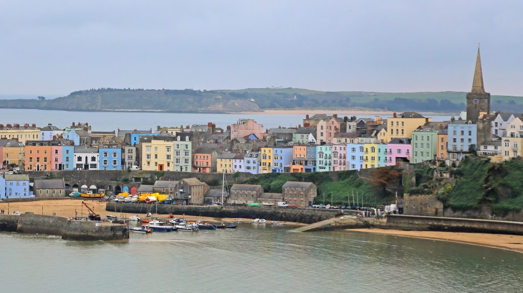 view of Tenby fishing village in Pembrokeshire south Wales