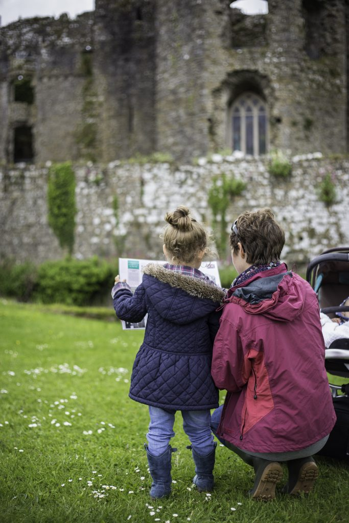 Mother and daughter at Carew Castle