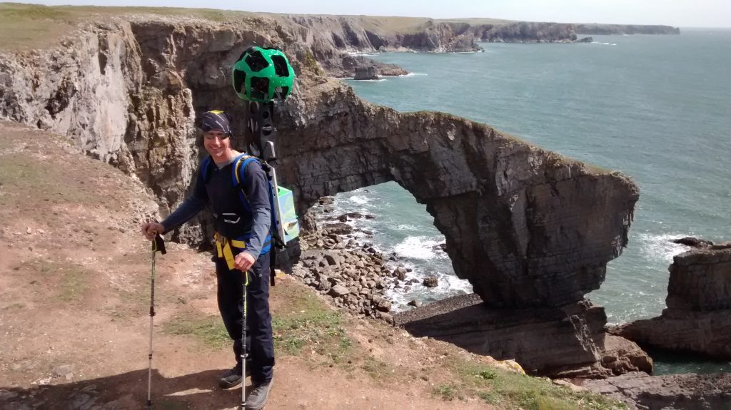 Google Trekker at the Green Bridge of Wales
