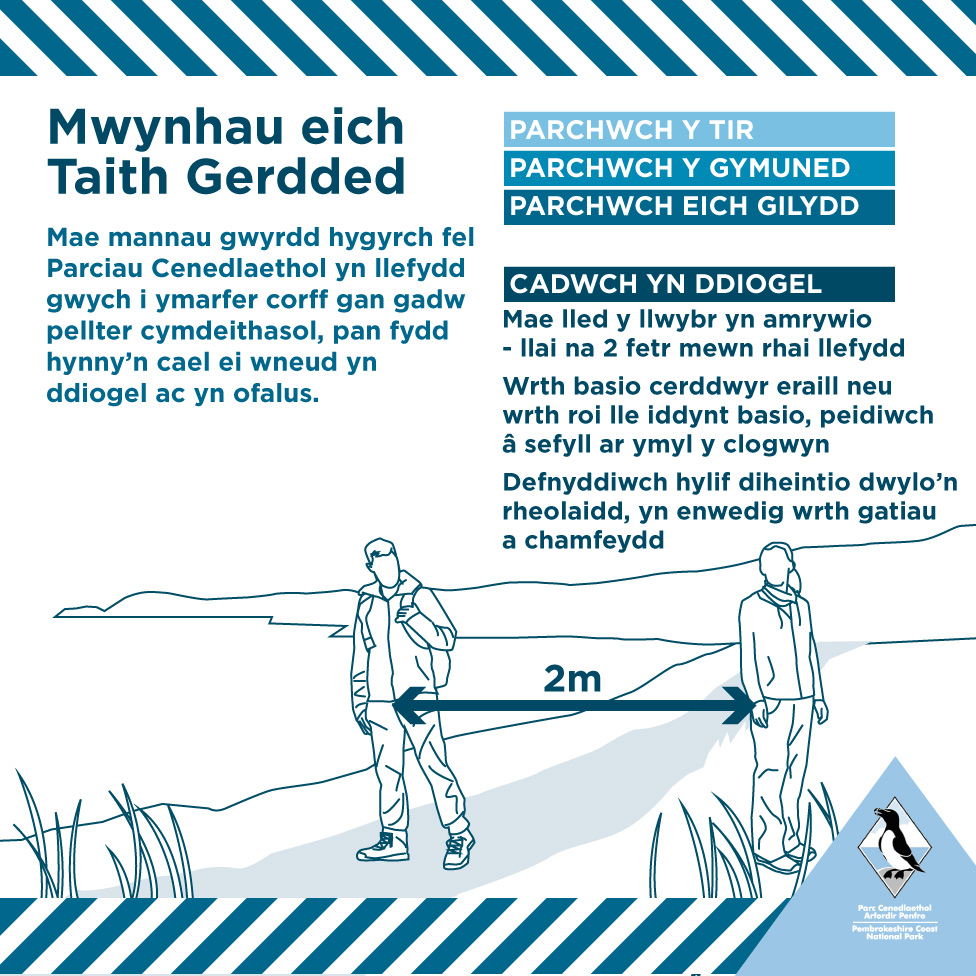 Poster Mwynhau eich Taith Cerdded - Coronafeirws