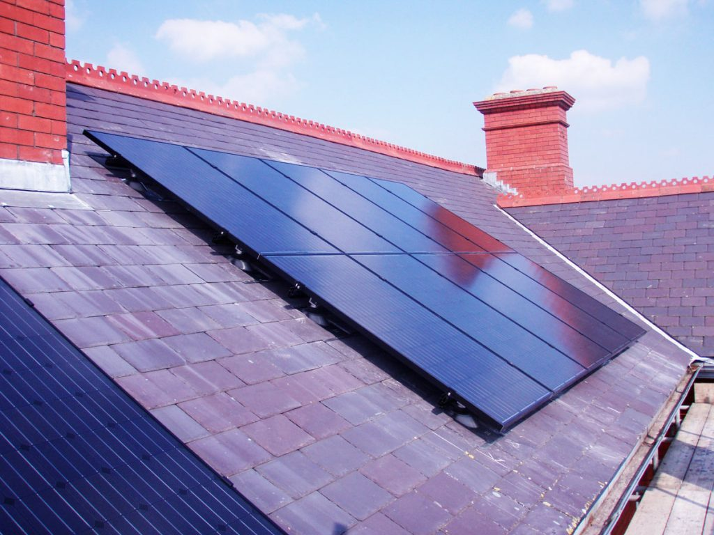 Photovoltaic panels on the roof of Llanion Park, Pembroke Dock