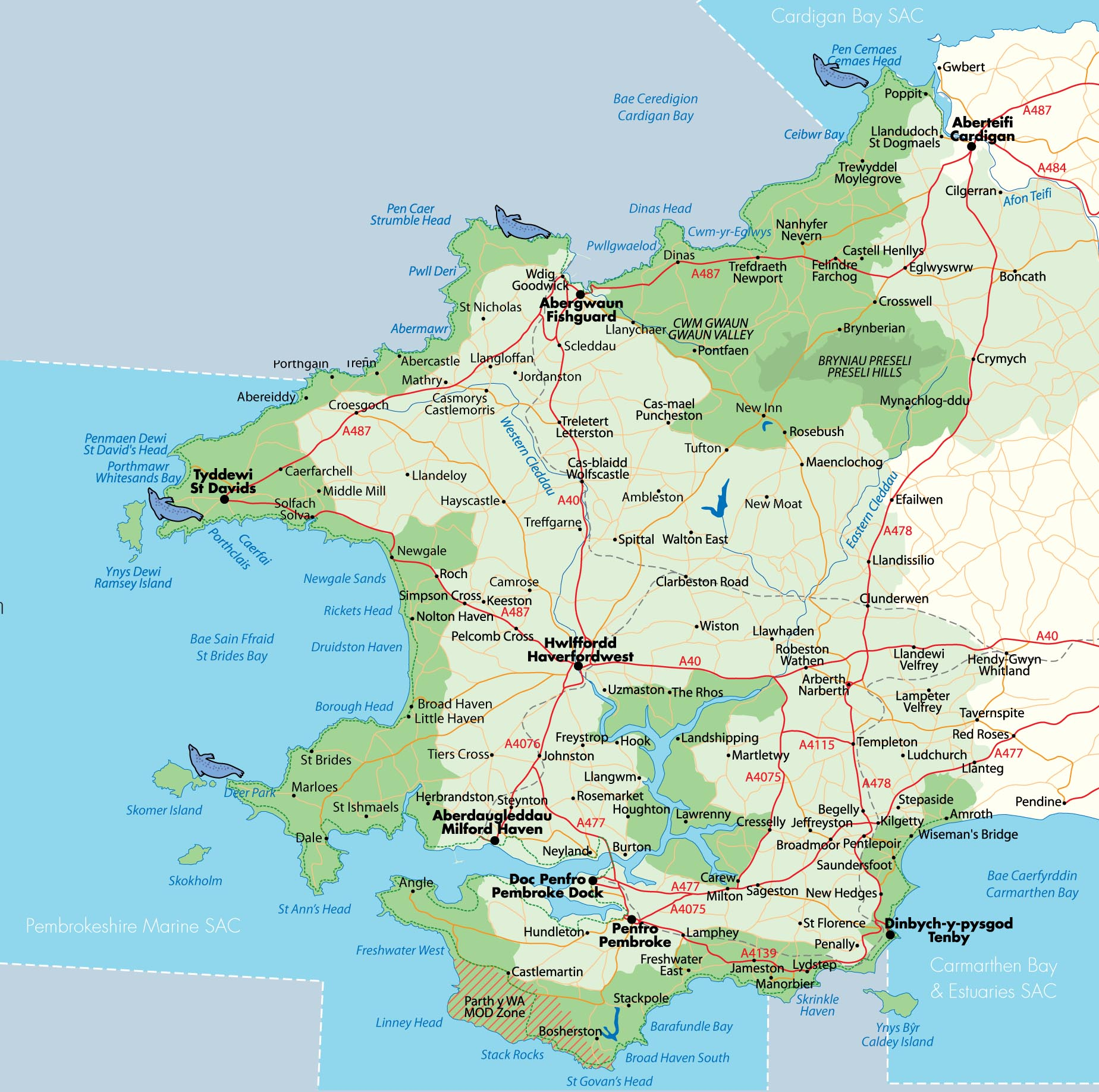 Map of Pembrokeshire showing the best seal watching locations (Cemaes Head, Strumble Head, Ramsey Island and Skomer Island)