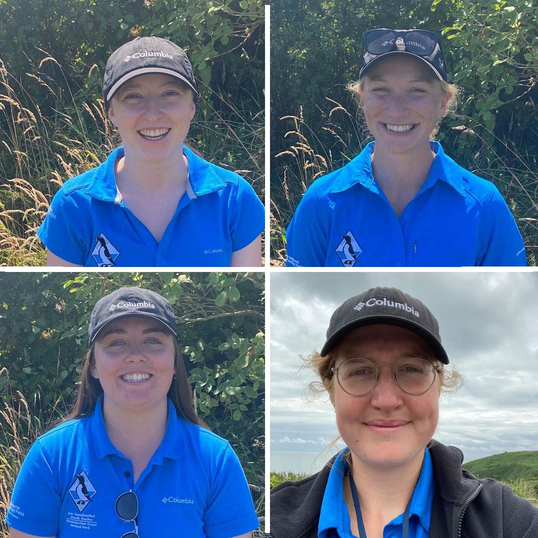 Four female Pembrokeshire Coast National Park female Summer Rangers in bright blue shirts